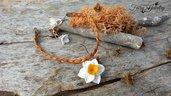 Bracciale narciso treccia pelle regolabile fiori natura gioielli bigiotteria
