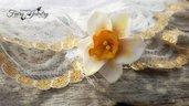Anello narciso fiore pasta polimerica fimo regolabile anallergico filigrana argentato