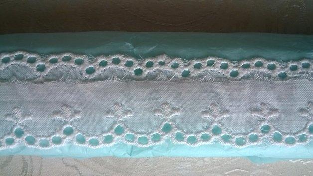 Metri 6 di Merletto in sangallo di cotone bianco