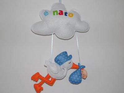 Fiocco nascita cicogna con fagottino e nuvola con scritta