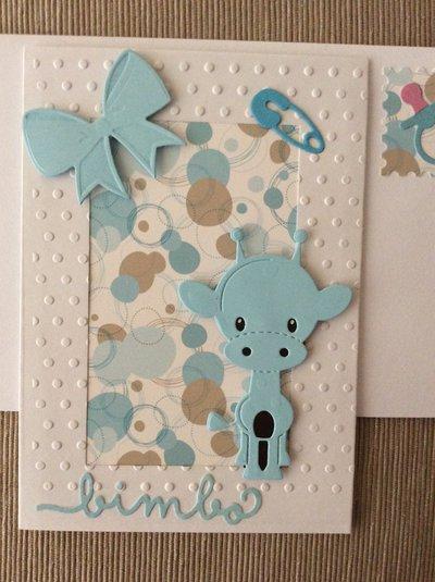Biglietto nascita maschietto giraffa