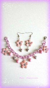 Parure in fimo handmade elegante romantica con fiori rosa lilla idea regalo donna idea regalo