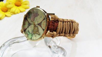 Orologio mappamondo da polso donna marrone e beige - Cinturino di microfibra intrecciato regolabile