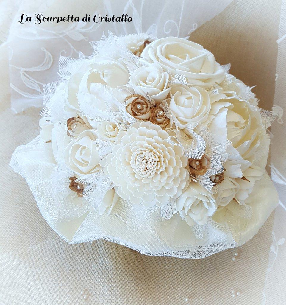 Bouquet Sposa Avorio.Bouquet Avorio Fiori Di Balsa Feste Matrimonio Di La