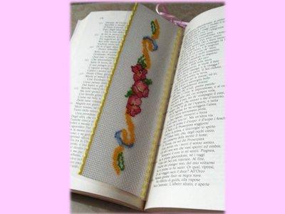 Segnalibro punto croce- bookmark Fiori