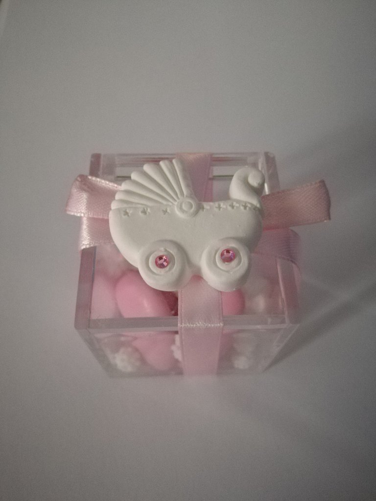 Bomboniera porta confetti plexiglass scatolina battesimo nascita carrozzina