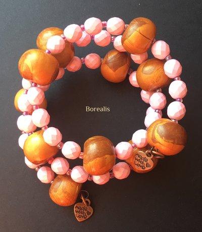 Bracciale Molla Armonica Perle Artigianali Argilla Polimerica Cristalli di Boemia