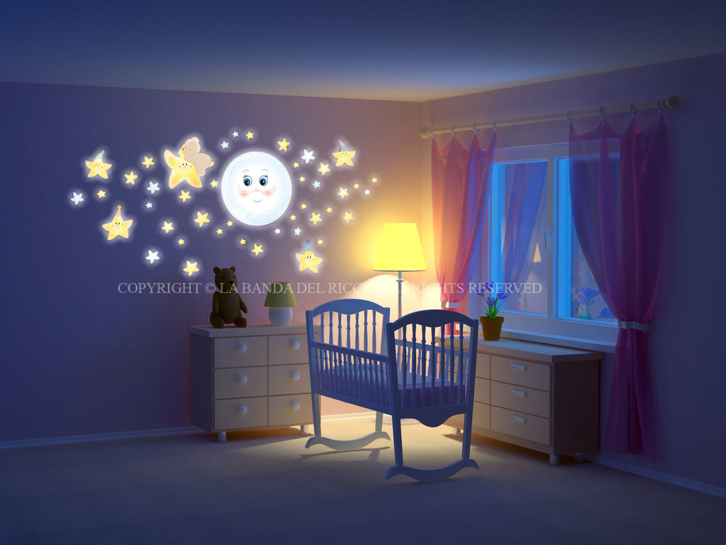 Dolce luna kit fluorescente per la camera dei vostri - La camera dei bambini ...