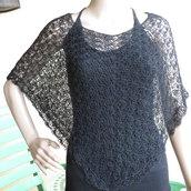 mantellina nera in cotone