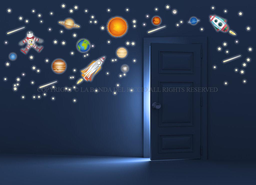 Missione spaziale adesivi murali bambini fotoluminescente