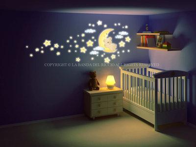 Orsetto sulla Luna adesivi fluorescenti da muro per la camera dei tuoi bambini