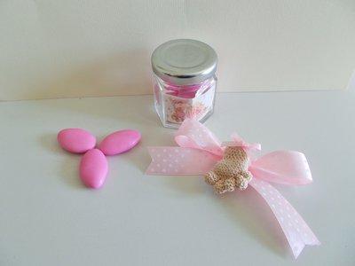 Bomboniera nascita battesimo piedino amigurumi magnete con barattolo in vetro.