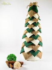 Albero in tessuto, iuta riciclo creativo, effetto pigna. Altezza 31 cm