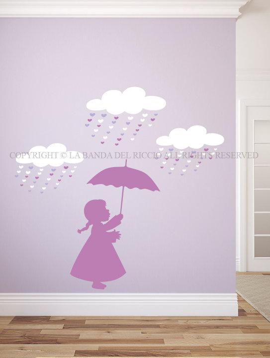 Bambina con ombrello adesivi da muro per la camera dei tuoi bambini