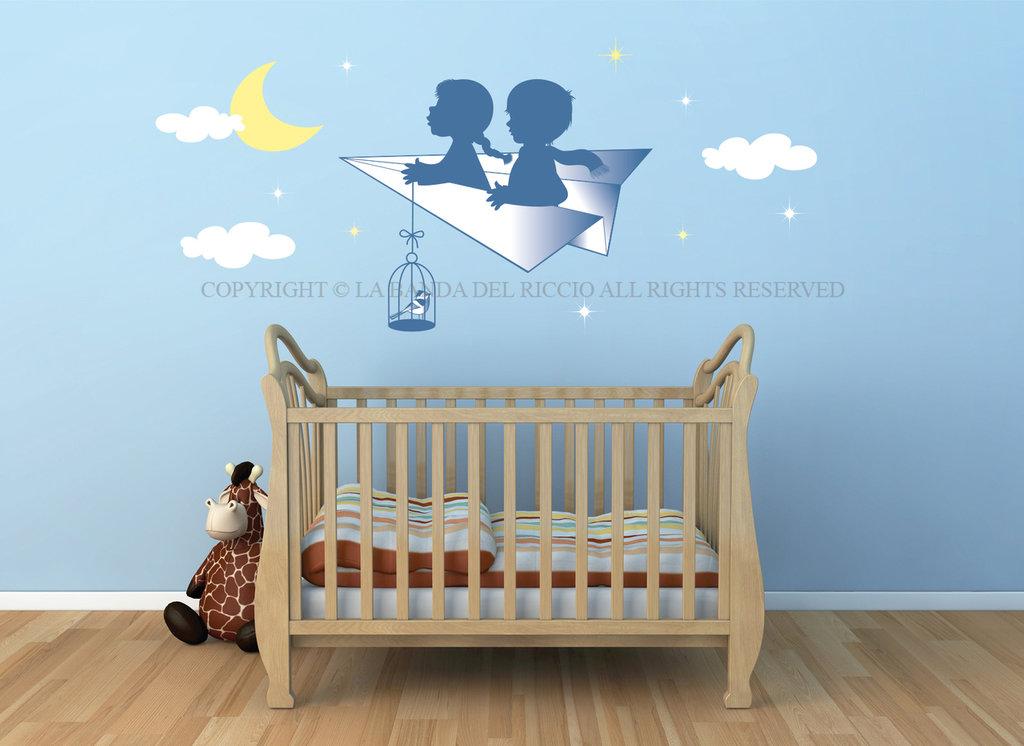 L' Aeroplano di carta adesivi da muro per la camera dei tuoi bambini