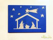 Quadro su tela, soggetto nativià, fatto con carta riciclata, riciclo creativo
