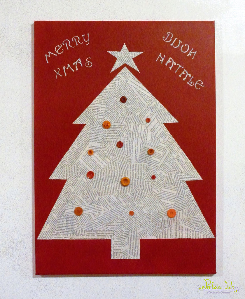 Quadro su tela, albero di natale con carta riciclata, riciclo creativo