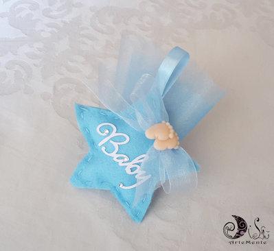 20portaconfetti bomboniere stella in tessuto azzura con piedini bimbo