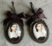 Orecchini cabochon ovale in vetro - Audrey Hepburn