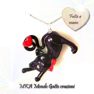 Ciondolo in Fimo con perline e catenina - Collezione Cat my Love