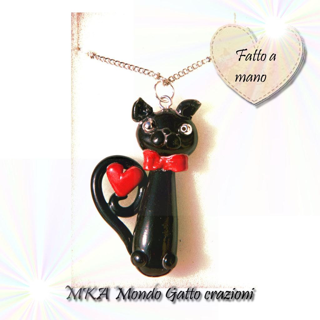 Ciondolo con catenina fatto a mano con perline - Collezione Cat my Love