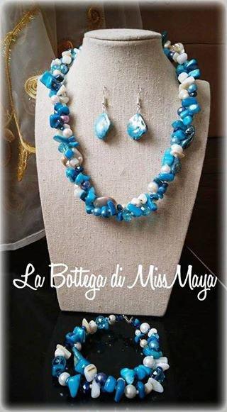Parure 3 pezzi Azzurra Perle e Cristalli (collana, orecchini e bracciale)