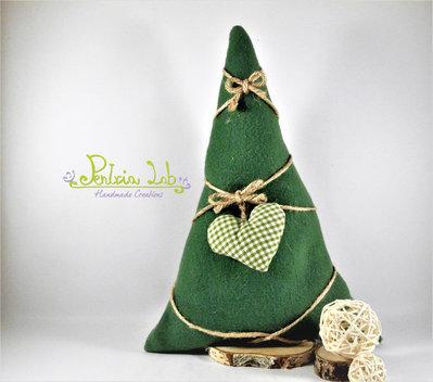 alberello realizzato con tessuto in pile verde, con base cerchio di betulla e decorazioni, altezza 31 cm
