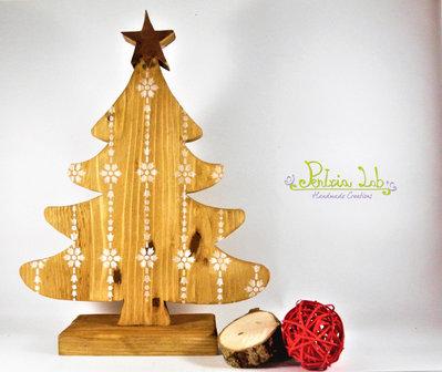 Albero in legno di recupero d'abete con stella in rame, altezza 30 cm