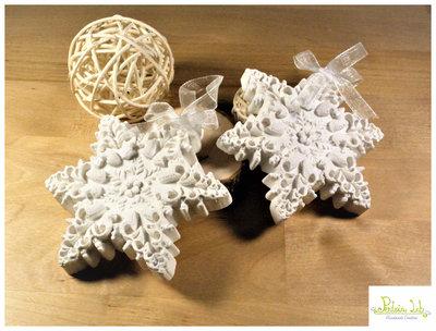Fiocco di neve in gesso ceramico, gessetto profumato, profuma ambiente, stella profuma ambiente