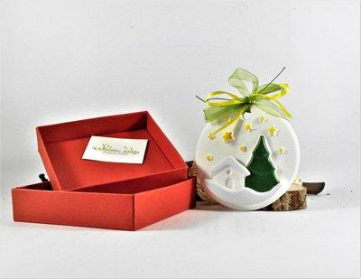 Medaglione in gesso ceramico, dipinto a mano, paesaggio invernale, decorazione con scatola fatta a mano