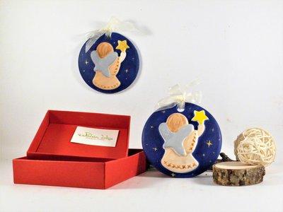 Medaglione in gesso ceramico, dipinto a mano, angelo con stella, con scatola fatta a mano