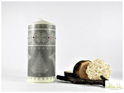 candela con strass, altezza 13 cm, tema inverno - natale