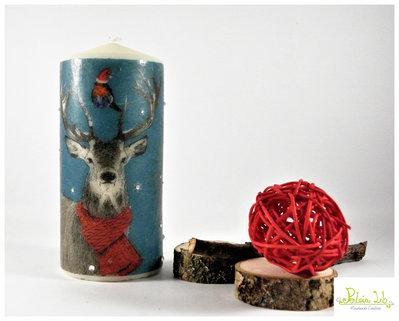 candela natalizia od invernale realizzata a mano con strass crystal, raffigurazione alce con passerotto - altezza 15 cm