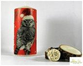 candela natalizia od invernale realizzata a mano con borchie argento e civetta - altezza 15 cm