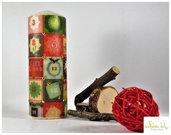 candela con borchie, altezza 17 cm - tema: calendario dell'avvento