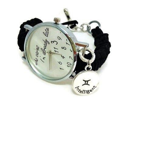 Orologio nero cinturino intrecciato con charm zodiacale - Regalo adatto per il compleanno