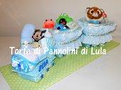 Torta di pannolini Treno grande Pampers - Idea regalo nascita battesimo compleanno