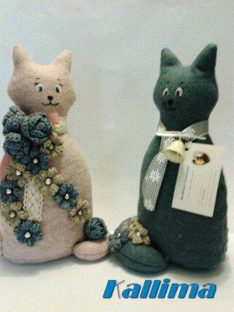 Gatti in feltro e lana fatti a mano GINO E GINA
