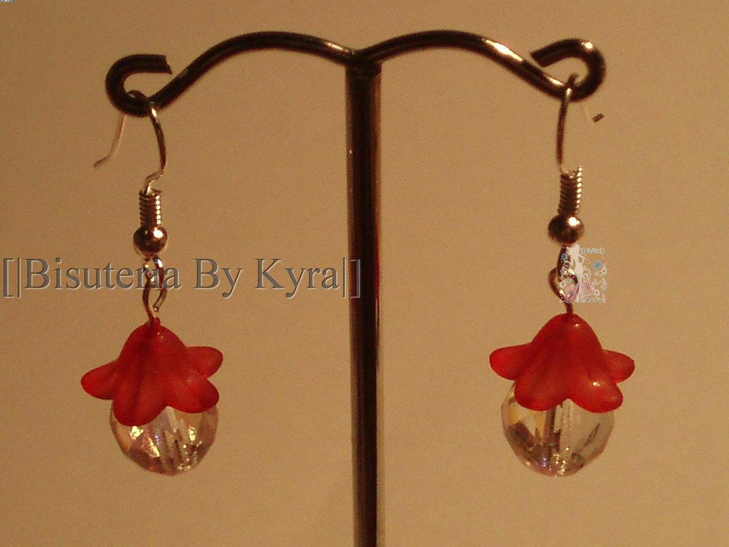 Pendientes flor Roja