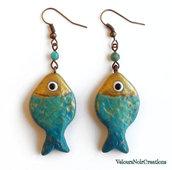 Orecchini pesciolini verde acqua e diaspro vintage