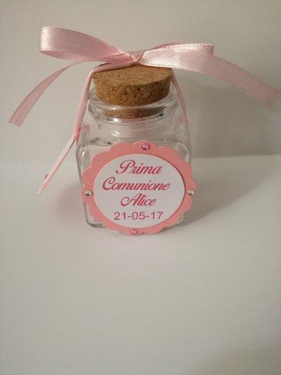 Vasetto barattolino barattolo vetro comunione battesimo festa compleanno occasione personalizzabile