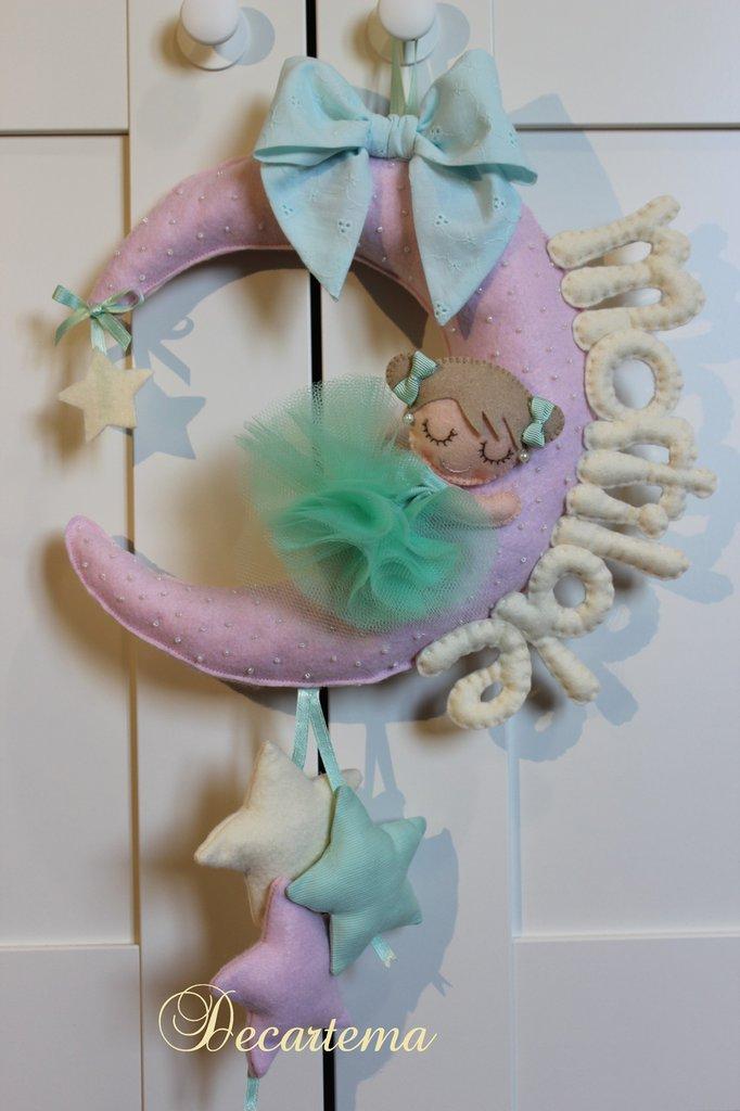 """Fiocco nascita bimba """"Luna con ballerina"""" nei colori pastello"""