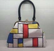 Borsa in tessuto con stampa stile Mondrian