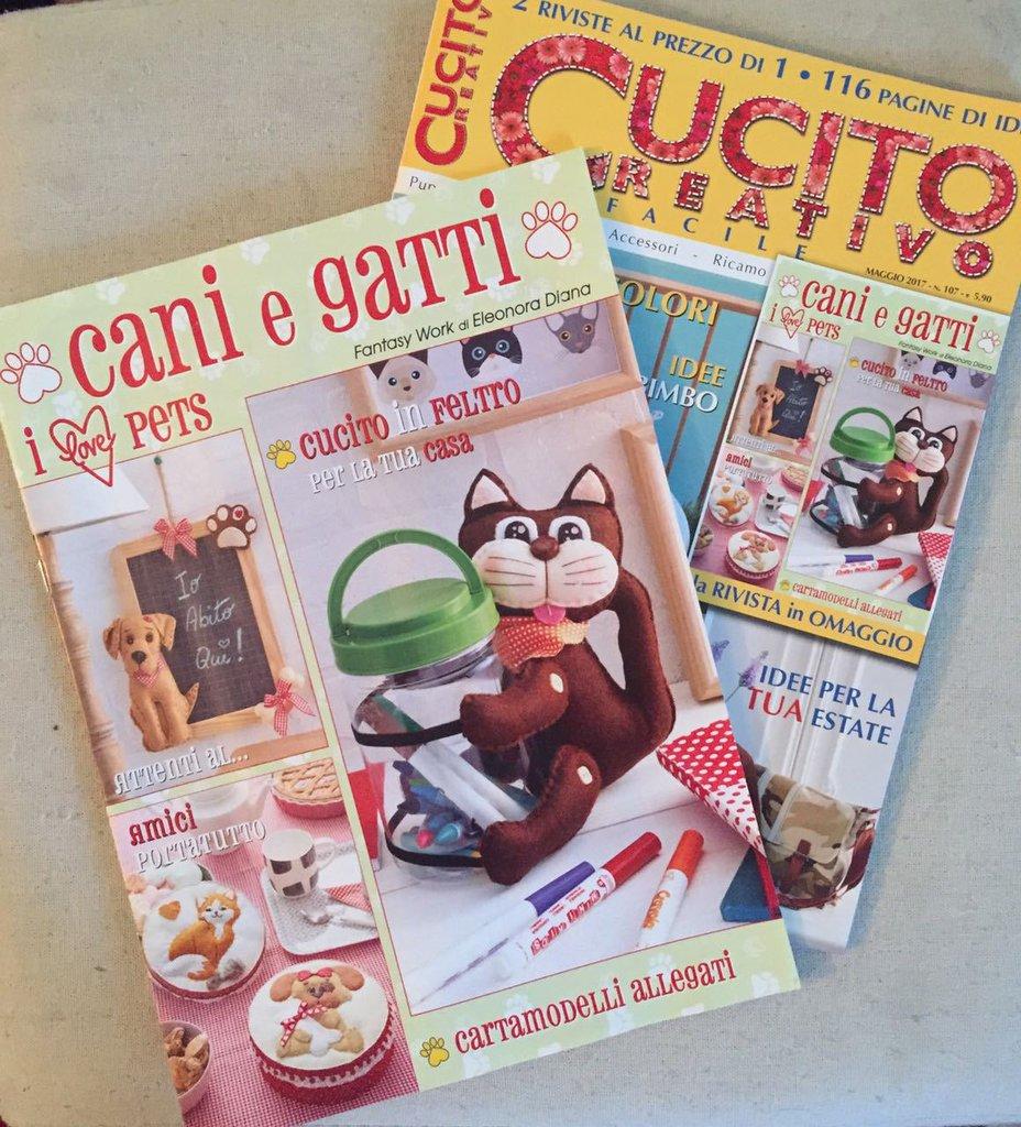 Cartamodello cani e gatti allegato al nr di maggio 2017 for Cucito creativo gatti