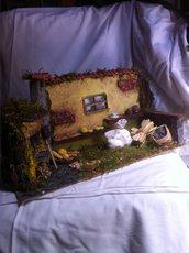 """Presepe scena artiginale interno con forno """" La finestra """" art 4202 cm 30x21x18h"""