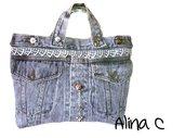 Shabby Jeans borsa a mano in denim grigio con strass e campanellini moda donna borse vintage ragazza