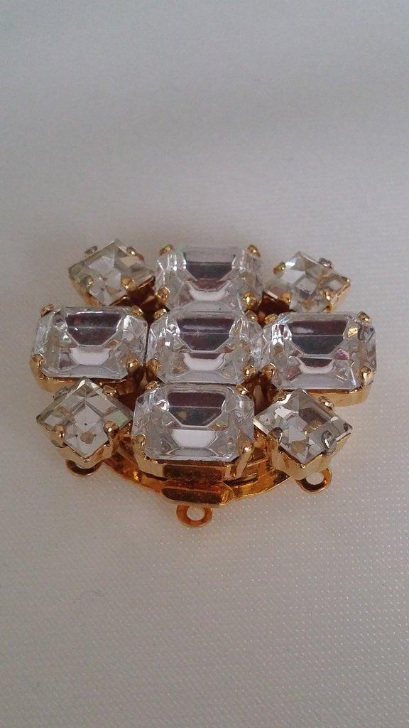 chiusura fermaglio per collana, a 3 fili in metallo dorato e strass