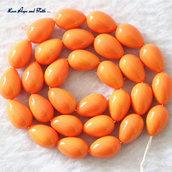 """LOTTO 30 gocce in vetro """"Mandarino effetto sfumato"""" (13x9mm) (cod Summer's Drop)"""