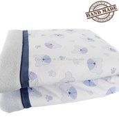 Coperta neonato in pile azzurro ideale per l'inverno