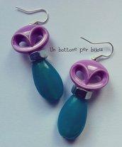 Orecchini con bottoni vintage +dadi in ferro zincato +perle